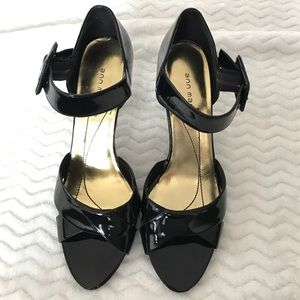 Ann Marino Shoes - Ann Marino Black Patent Sandals with Ankle Strap