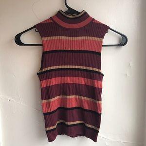 Vintage Inspired 90s Striped Turtleneck
