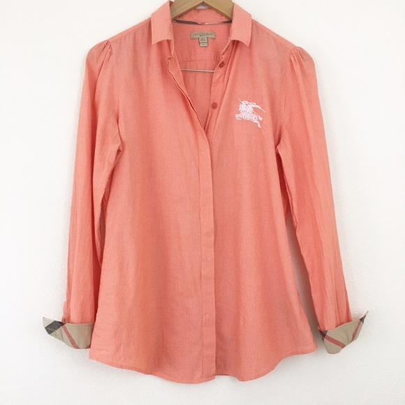 88% off Burberry Tops - Burberry Brit coral pinstripe button down ...