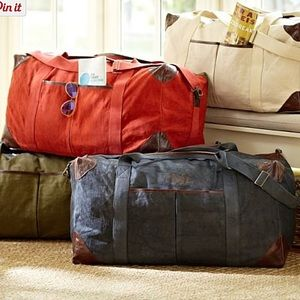 "Pottery Barn Other - Pottery Barn Large Weekender Bag Orange Mono ""R"""