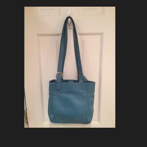 Coach sky blue leather bucket bag silver buckle