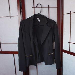 Black Long Sleeve Front Zipper Pocket Blazer