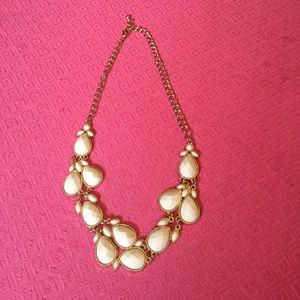 White and Gold beaded statement necklace.