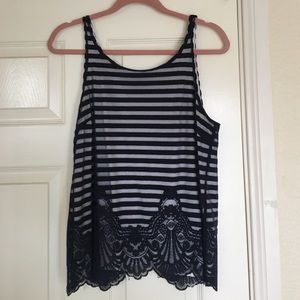 Striped tank with open back and lace detailing