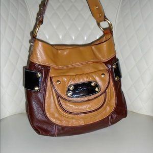 B Makowsky  Handbags - B Makowsky 2 Tone Brown Leather Shoulder Bag