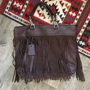 Chocolate Brown Italian Leather Fringe Purse NEW
