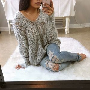 Sweaters - OUT OF STOCK  || Gray loose knit oversized sweater
