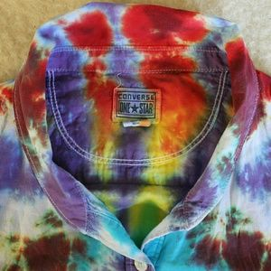 Converse Tops - Upcycled Tie Dye Converse Light Cotton Blouse