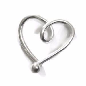 925 Sterling Silver Heart Cartilage Hoop