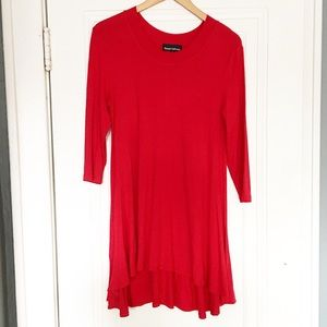 Tops - Boutique Red Long Sleeve Flowy Dress/Tunic