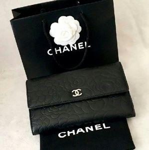CHANEL Handbags - Chanel Large Lambskin Camellia Flap Wallet Clutch