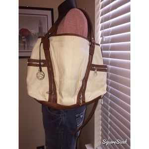 Handbags - New never worn brown leather and linen purse!