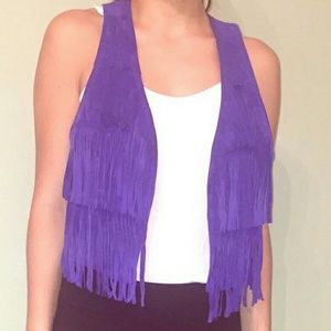 Forever 21 purple real leather suede vest