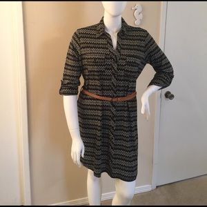 Black horizontal zigzag dress with brown belt