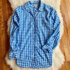 J. Crew The Perfect Shirt Gingham Blue Check