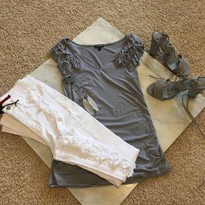 EUC Express grey vneck blouse size Small