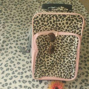 Handbags - Girls Rolling Carry-On Luggage cheetah print&pink