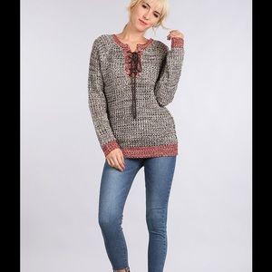 ✳️ Marled Knit Long Sleeve Sweater