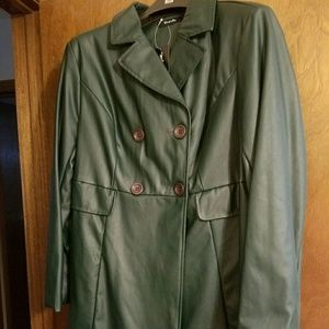 Simply Be Jackets & Blazers - New Simply Be green faux leather coat size 16