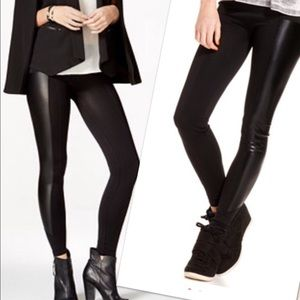 Material Girl Pants - New faux leather sides leggings black