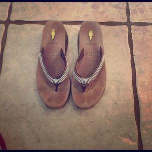 Volatile Shoes - Bronze Volatile Wedge Sandals-Size 8