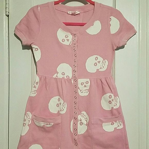 c9539295d Betsey Johnson Dresses | Pink Skull Thermal Baby Doll Dress | Poshmark