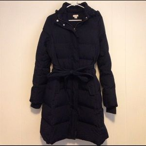Long navy puffer coat from J.Crew Factory, size S