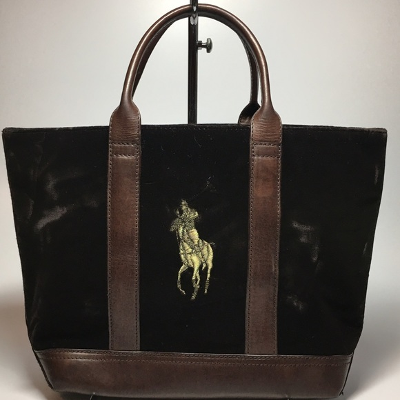 New Ralph Lauren Velvet Leather Tote Shopper Bag. M 589f8a762de51263db01b5f1 b950a9c027717