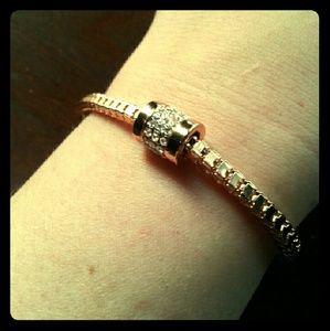Jewelry - Rose Gold Box Chain Bracelet w/Diamond Gold Slider