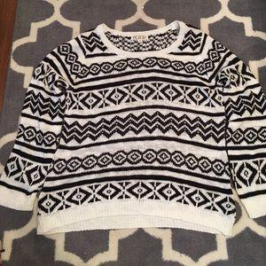 Cozy tribal print plus size sweater