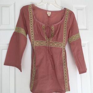 Plenty Boho style blouse in rose color
