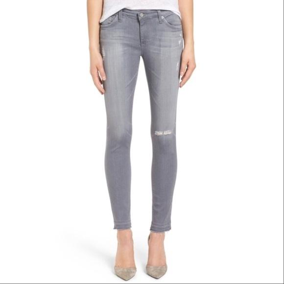 de5b4b3db26b0 AG Adriano Goldschmied Denim - AG Legging Ankle Cool Grey Destroyed Skinny  Jeans