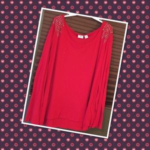 Cato Tops - 💥Plus size red tunic with studded shoulders