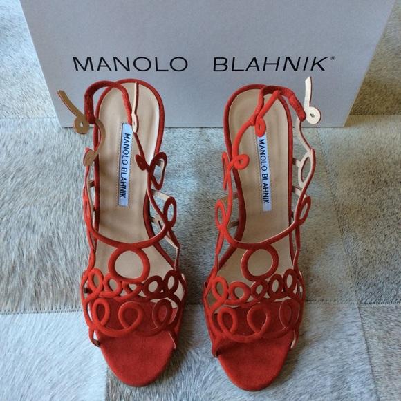 89f4492a346 NIB Manolo Blahnik $985 Red Squiggle Heels, SZ 37 Boutique