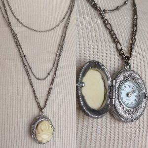 Jewelry - Vintage Layer Rose Locket Watch 3 Layer Neclace
