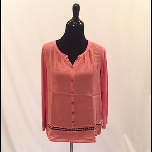 Lucky Brand Tops - Lucky Brand Salmon Crochet Embellished Top