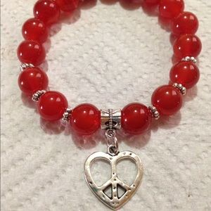 PeaceFrog Jewelry - Red Carnelian Peace Heart Bracelet
