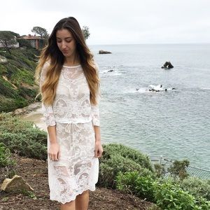 sheer lace overlay dress