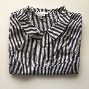 Ninety Tops - Striped Button Down Blouse
