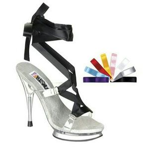 Funtasma Shoes - Clear Ankle Strap Heels with Interchangeable Laces