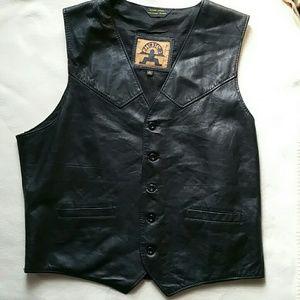 VTG PHASE2 Black Leather Motorcycle Biker Vest ✨HP