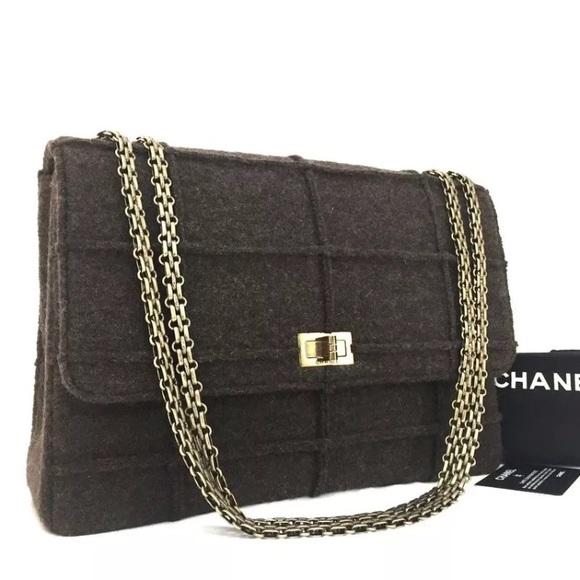 37b039347b24 CHANEL Handbags - Chanel Jumbo 2.55 Reissue Wool Chain Bag