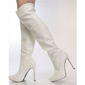 Alba Shoes - White Thigh High Heel Boots
