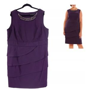 Connected Apparel Dresses & Skirts - 22W 3X PURPLE TIERED NECKLACE DRESS Plus Size
