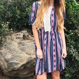 navy tribal patterned dress