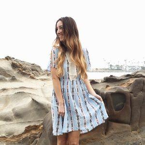 blue tribal print dress