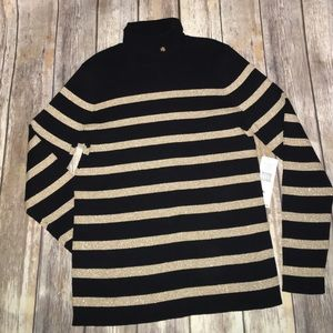 NWT Lauren Ralph Lauren Gold Striped Turtleneck
