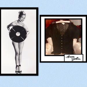 ANN GERLIN• Crochet Rayon Beaded Sweater