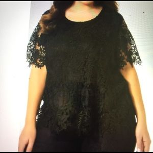 Simply Emma Tops - Simply Emma women's plus lace top black 3X USA