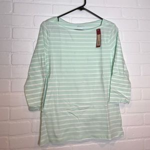 Merona boatneck tee mint/white stripe M 3/4 sleeve